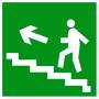Эвакуационный знак Направление к эвакуационному выходу по лестнице вверх налево (E 16)
